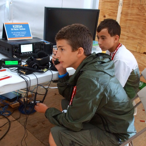 You can readily see the enthusiasm from the Scouts as they are introduced to amateur radio.