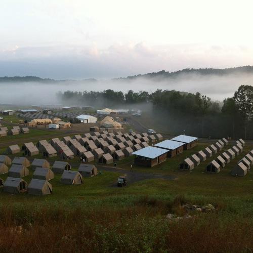 Here's the morning view of Staff Camp as I set off on my commute to the K2BSA station.