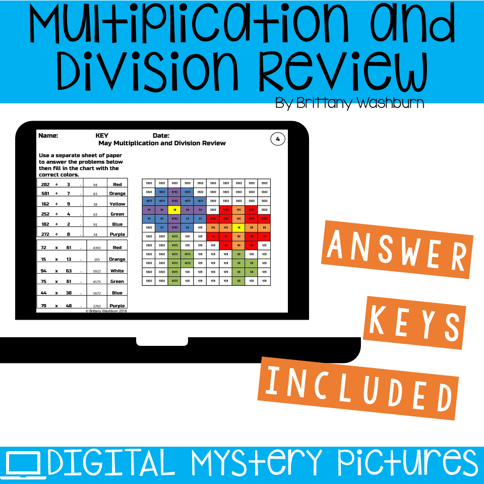 May Themed Multiplication and Division Practice DIGITAL Mystery ...