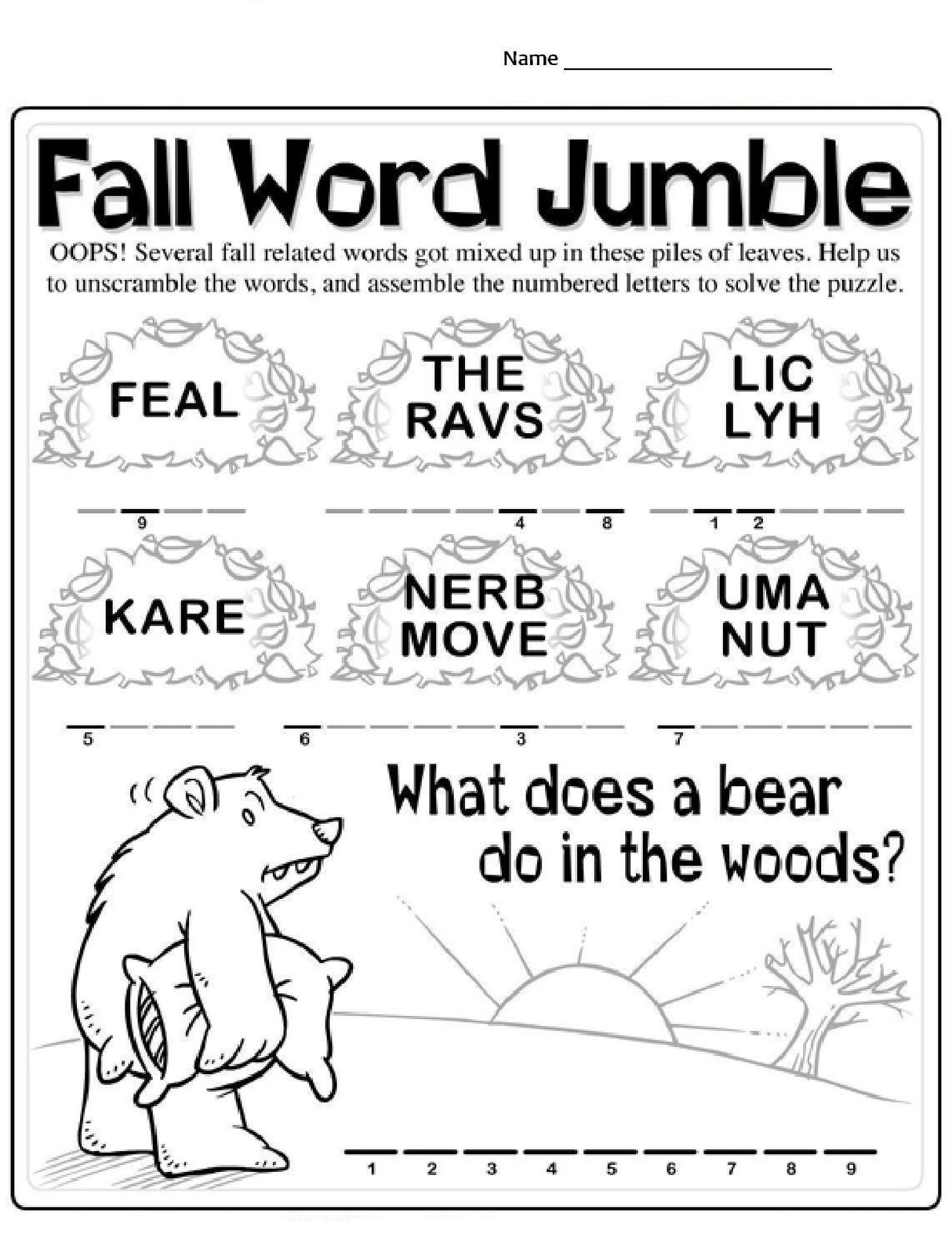 Worksheet Fall Morning