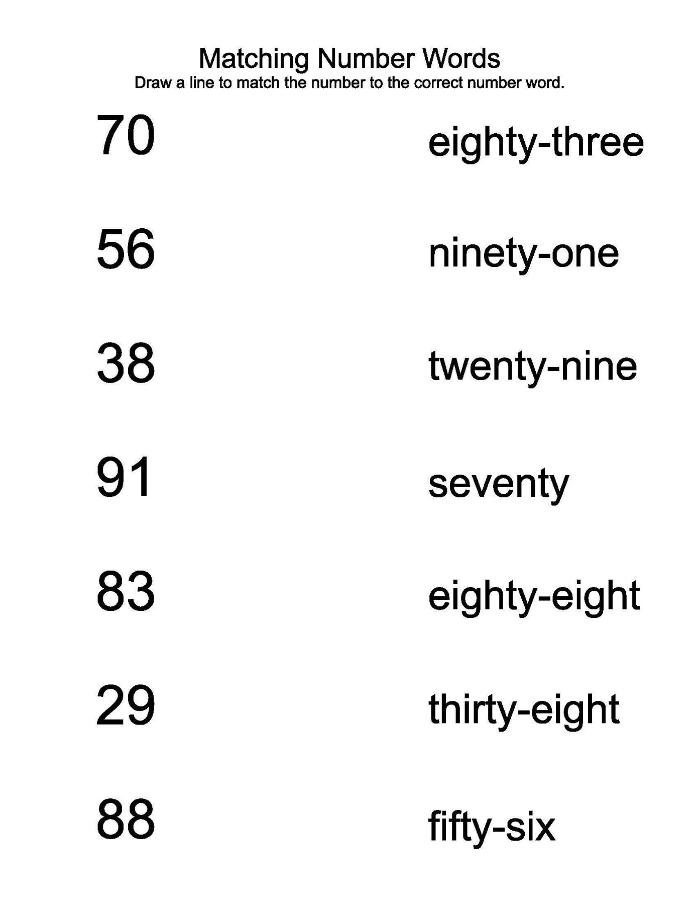Number Words Worksheet For Kindergarten