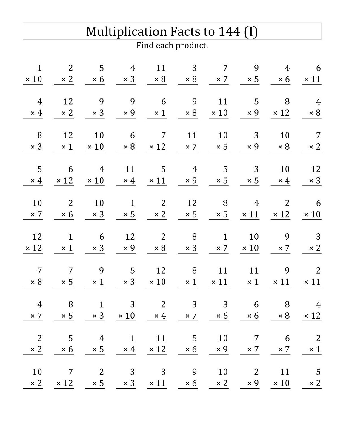 Times Tables Drills