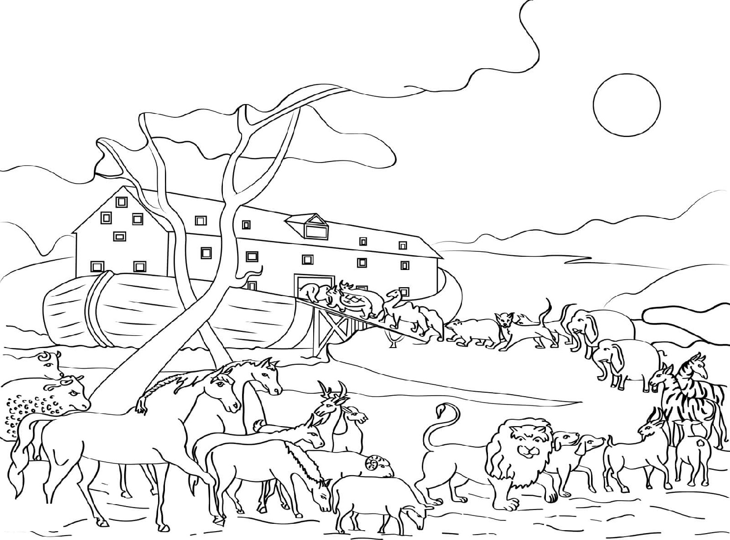 Noah S Ark Coloring Page Animals Loading K5 Worksheets