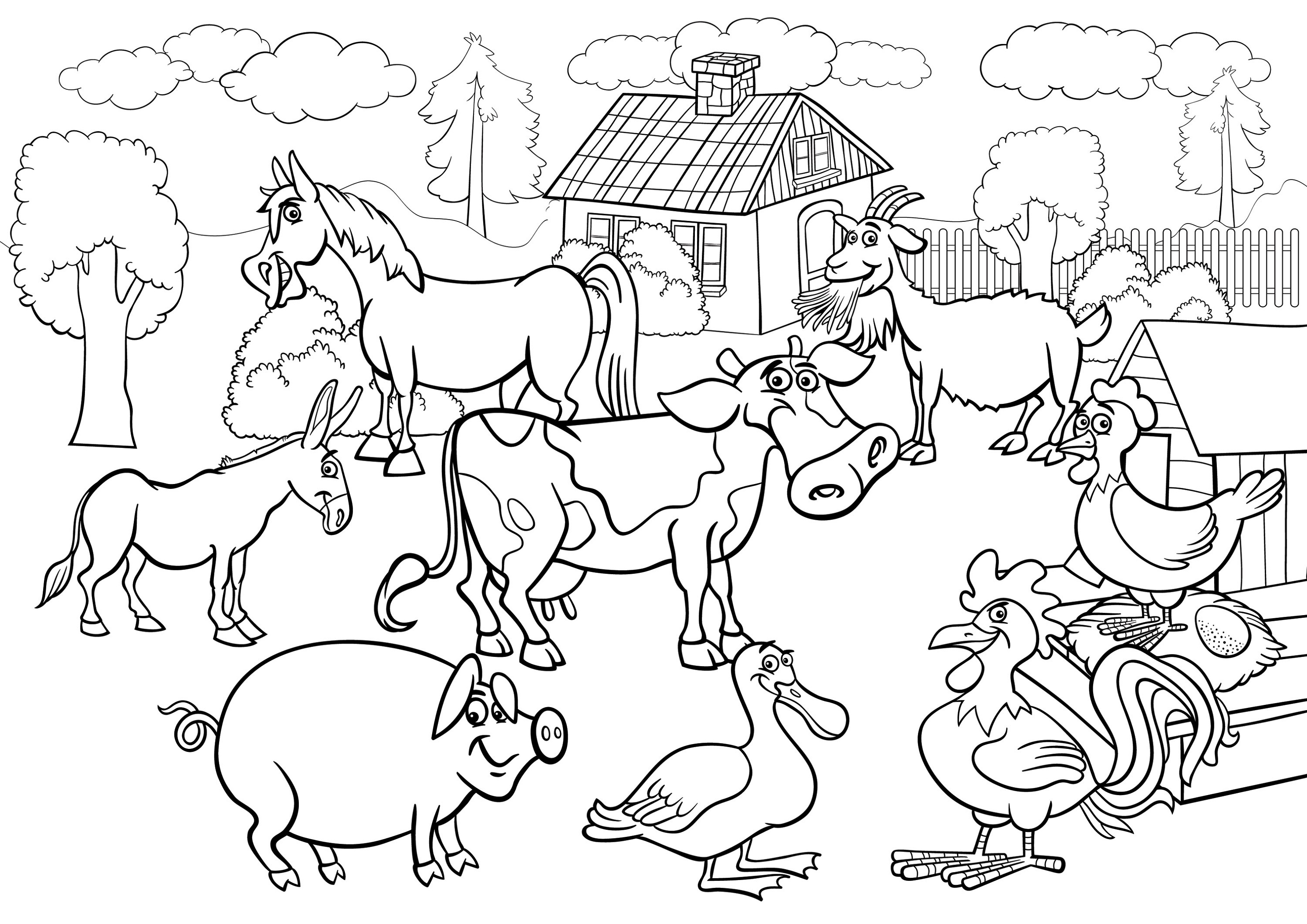 Farm Coloring Pages Scene K5 Worksheets