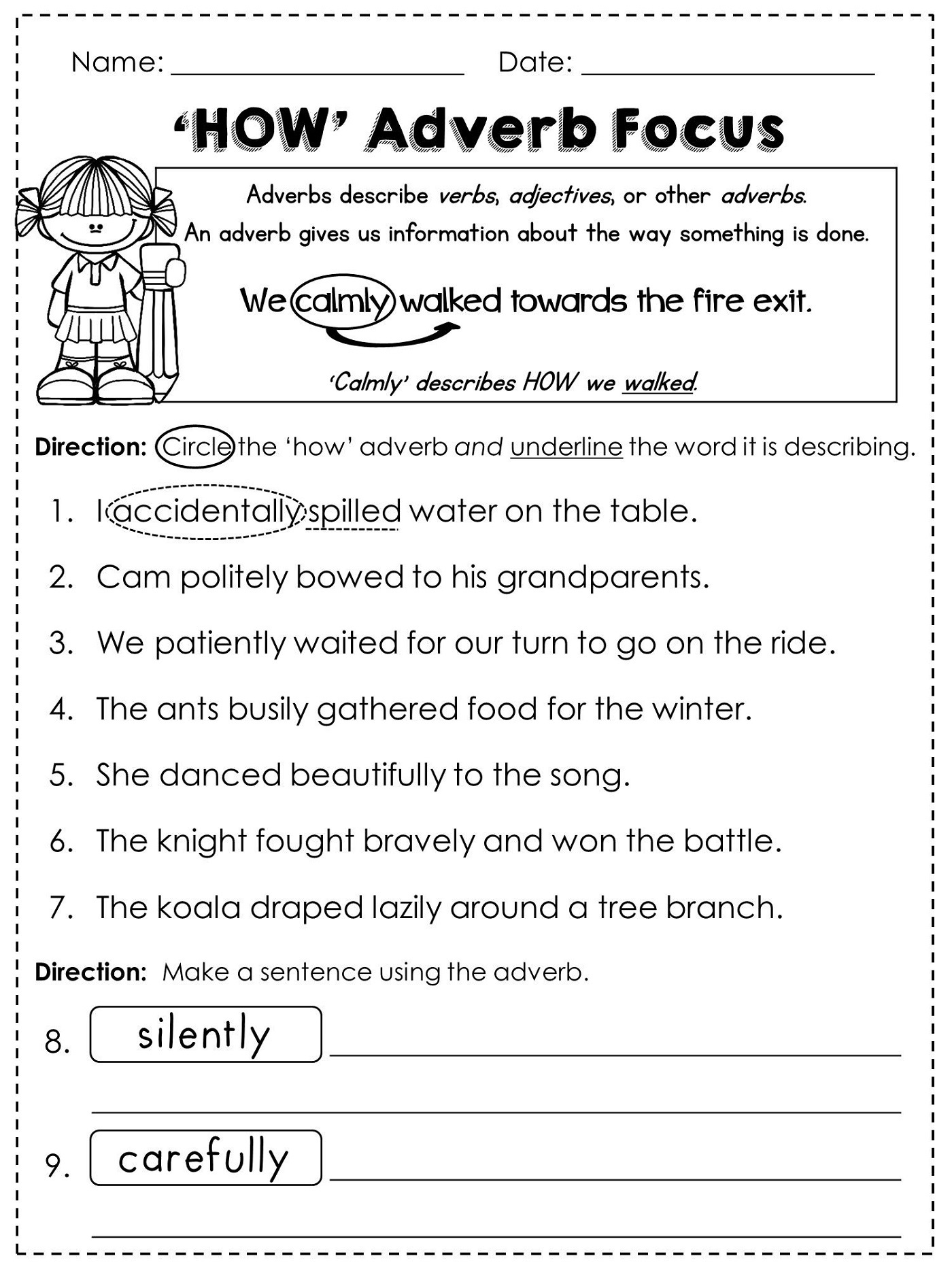 Free Grammar Worksheets Adverbs K5 Worksheets