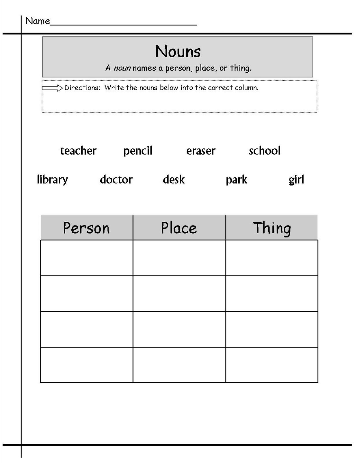 Free Grammar Worksheets Nouns K5 Worksheets