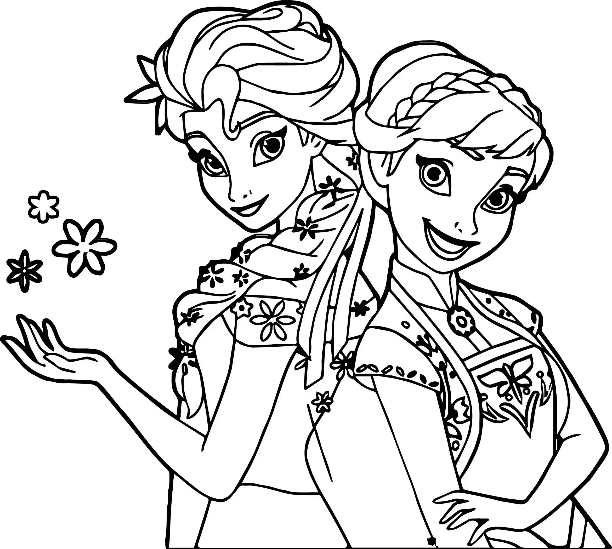 Frozen Fever Coloring Pages Elsa And Anna