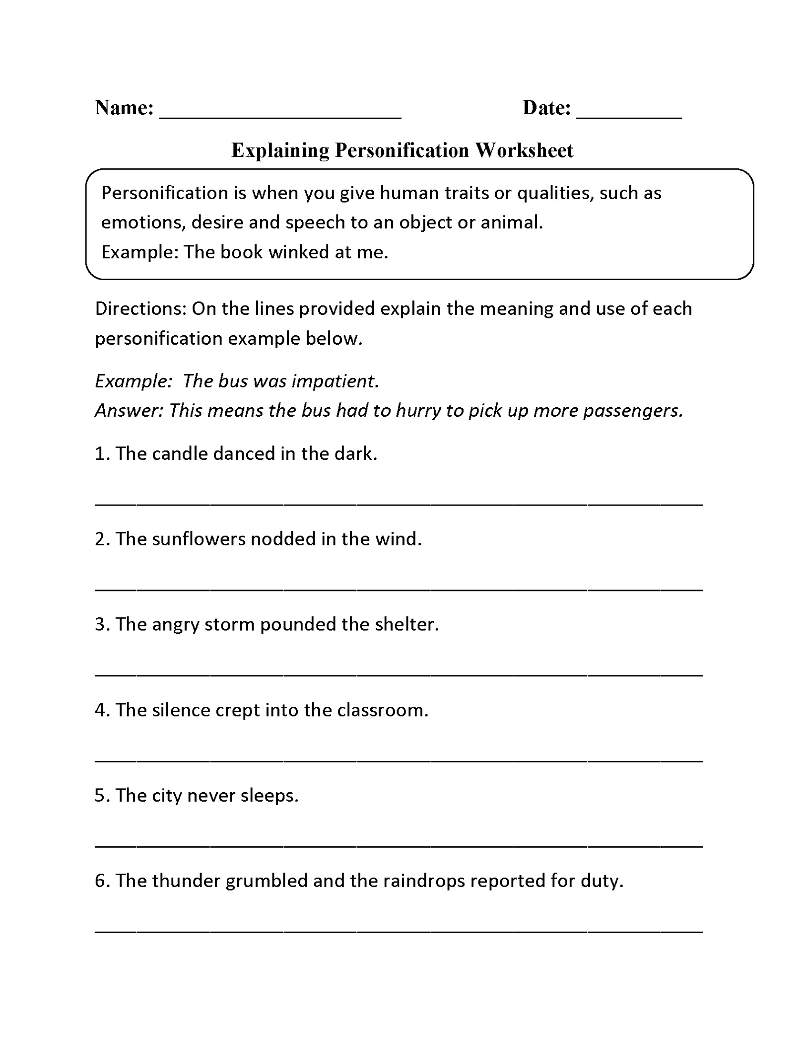 5th Grade Worksheets Personification K5 Worksheets