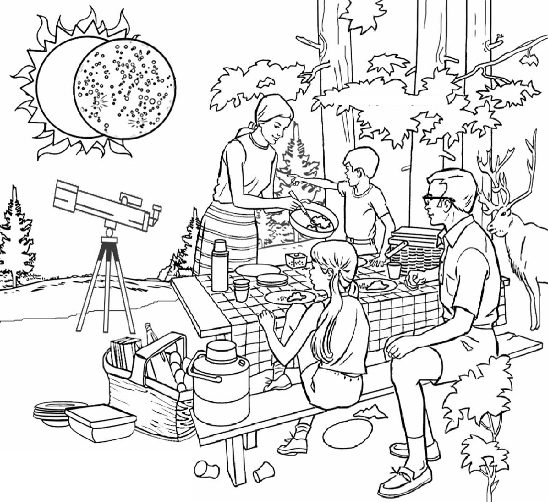 Total Solar Eclipse Coloring Pages