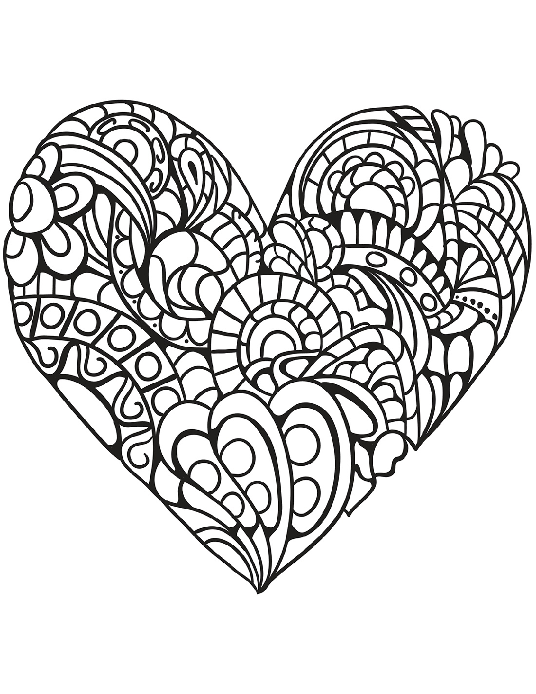 Heart Coloring Mandala Cuttable
