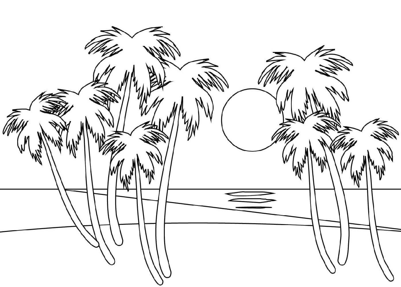 Beach Coloring Pages Downloadable Full Documents