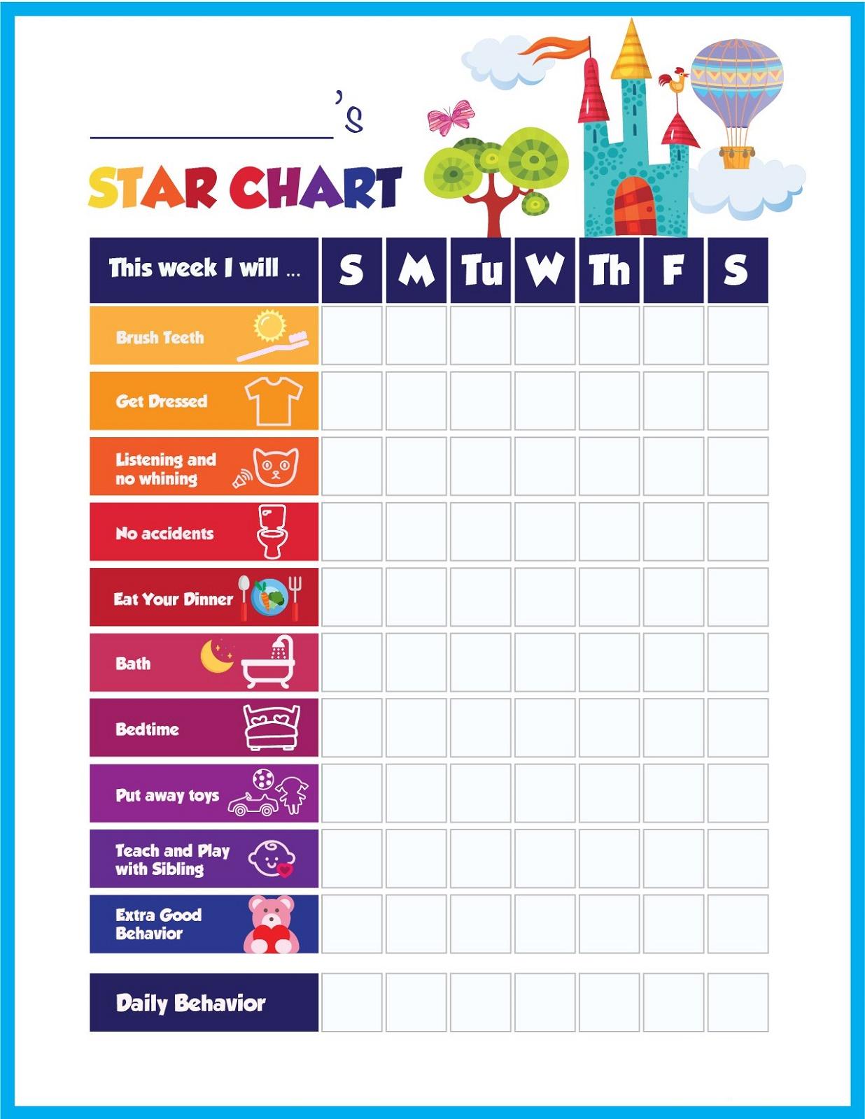 Star Reward Chart Behavior Full Pages