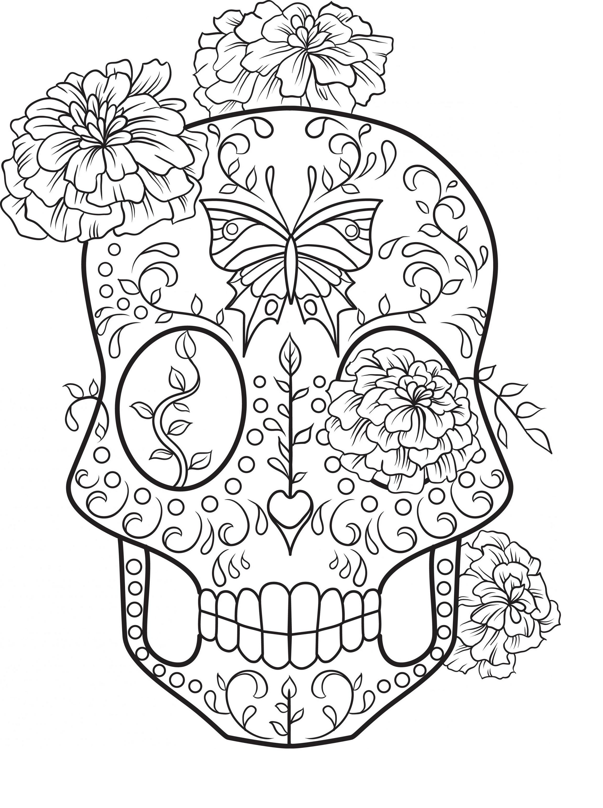 Easy Sugar Skull Coloring