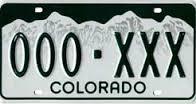 Colorado License Plate 000-XXX