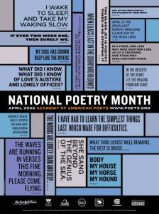 National Poetry Month picture, with first lines of poems