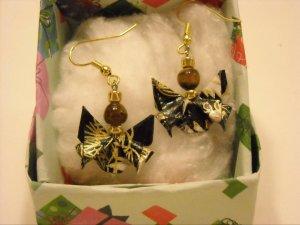 Origami Butterfly Earrings. Not frogs.