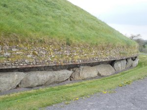 The carved kerbstones around one of the Knowth  tombs.