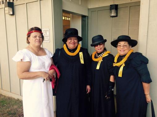Members of 'Ahahui Ka'ahumanu were present to honor Princess Bernice Pauahi Bishop at today's Kamehameha Schools Founder's Day at Mauna'ala.
