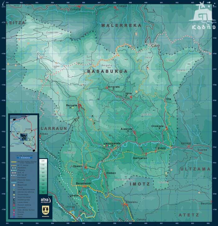 mapa del valle Basaburua