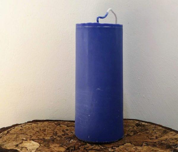 stompkaars koolzaadwas Ø 6.5 x 15 cm ultramarijn blauw