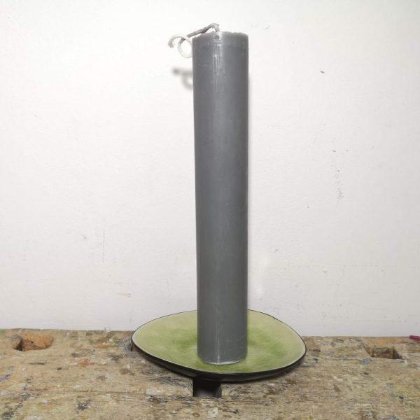 Druipkaars koolzaadwas ø 4 x 25 cm. grijs