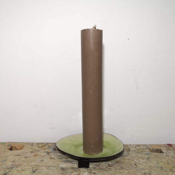 Druipkaars koolzaadwas ø 4 x 25 cm. bruin
