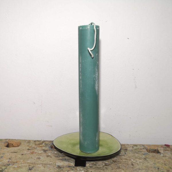 Druipkaars koolzaadwas ø 4 x 25 cm. midden groen
