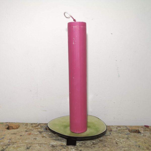 Druipkaars koolzaadwas ø 4 x 25 cm. roze