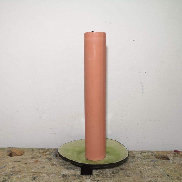 Druipkaars koolzaadwas ø 4 x 25 cm. perzik