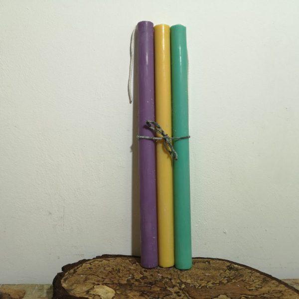 Set van 3 druipkaarsen in verschillende kleuren, ø 2 cm.