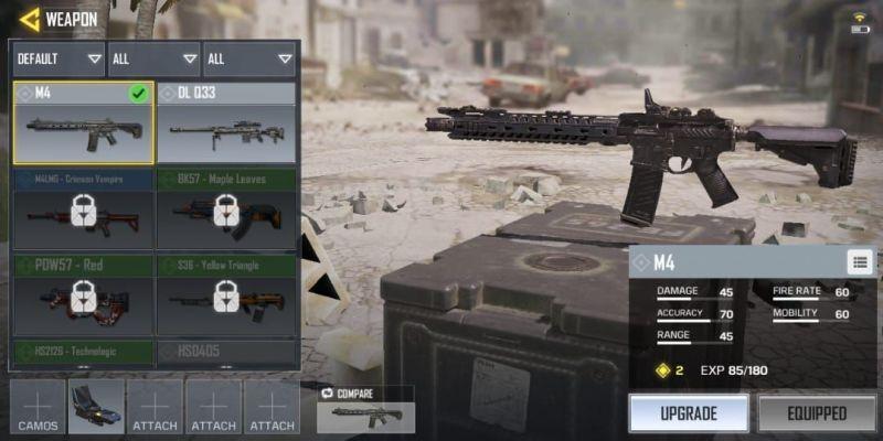 senjata COD Mobile tersakit M4