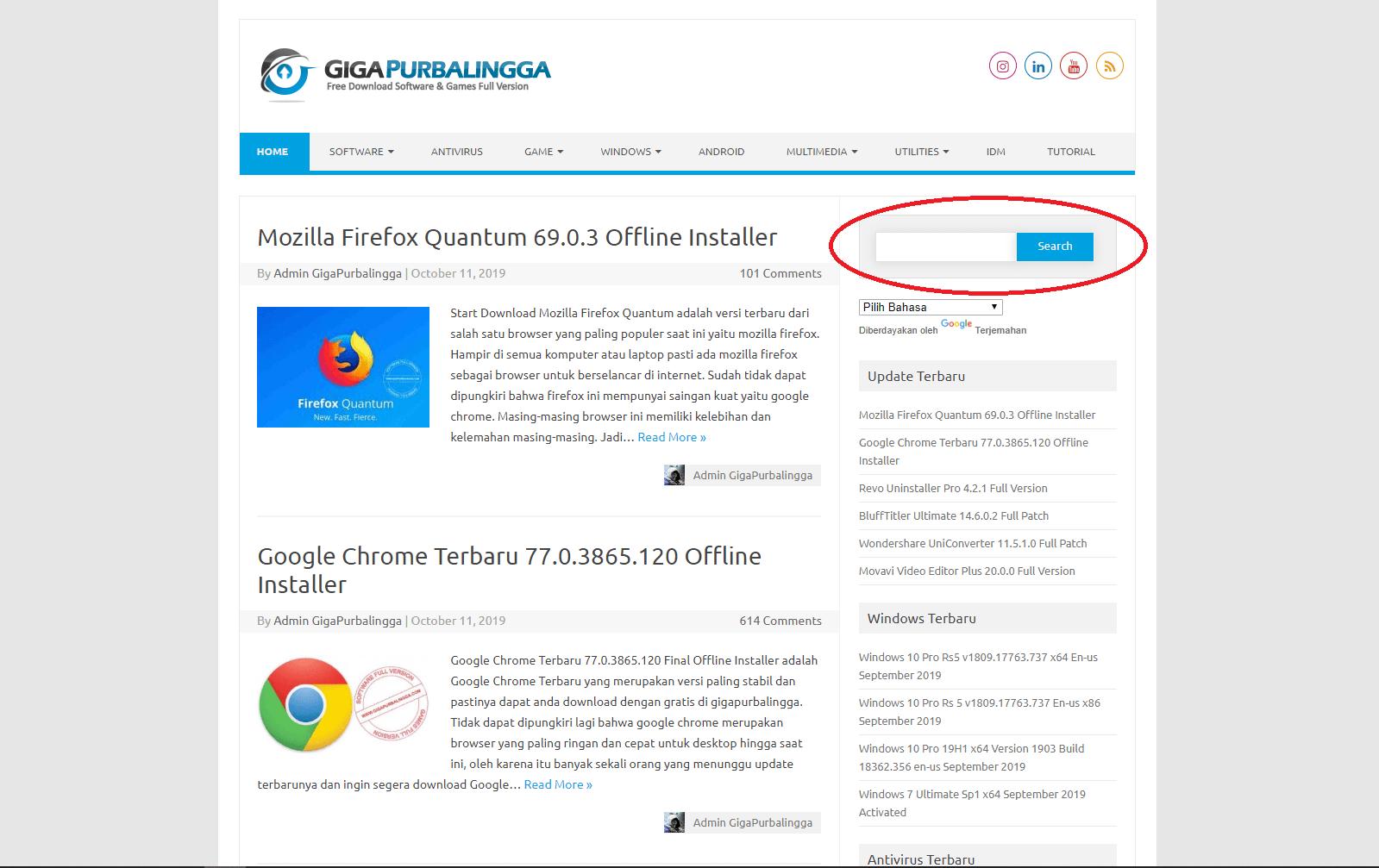 Cara mencari software di Gigapurbalingga
