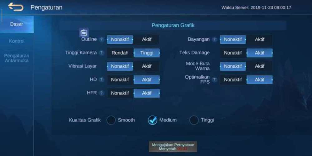 Ubah Pengaturan Game Mobile Legends