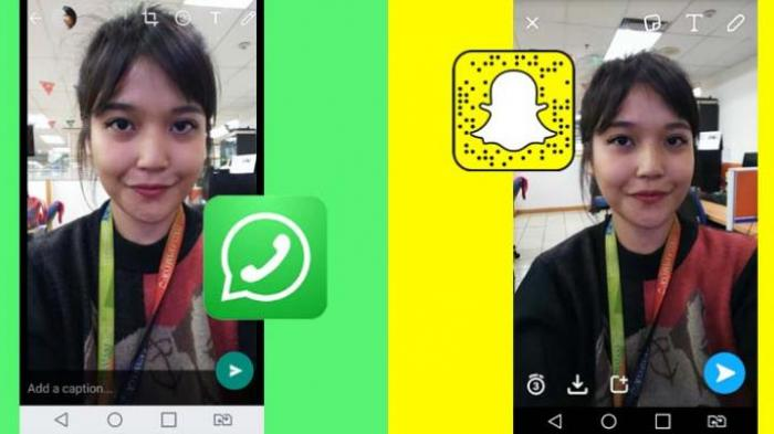 Fitur Snapchat pada WhatsApp. Foto : TribunNews