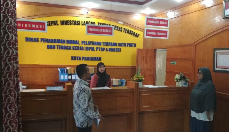 Simulasi penilaian kepatuhan dari Ombudsman Sumatera Barat di DPMPTSP Kota Pariaman, Jumat (13/4/2018). Foto : Istimewa