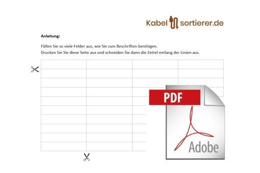 Beschriftungsvorlage im Pdf-Format für Kabelsortierer