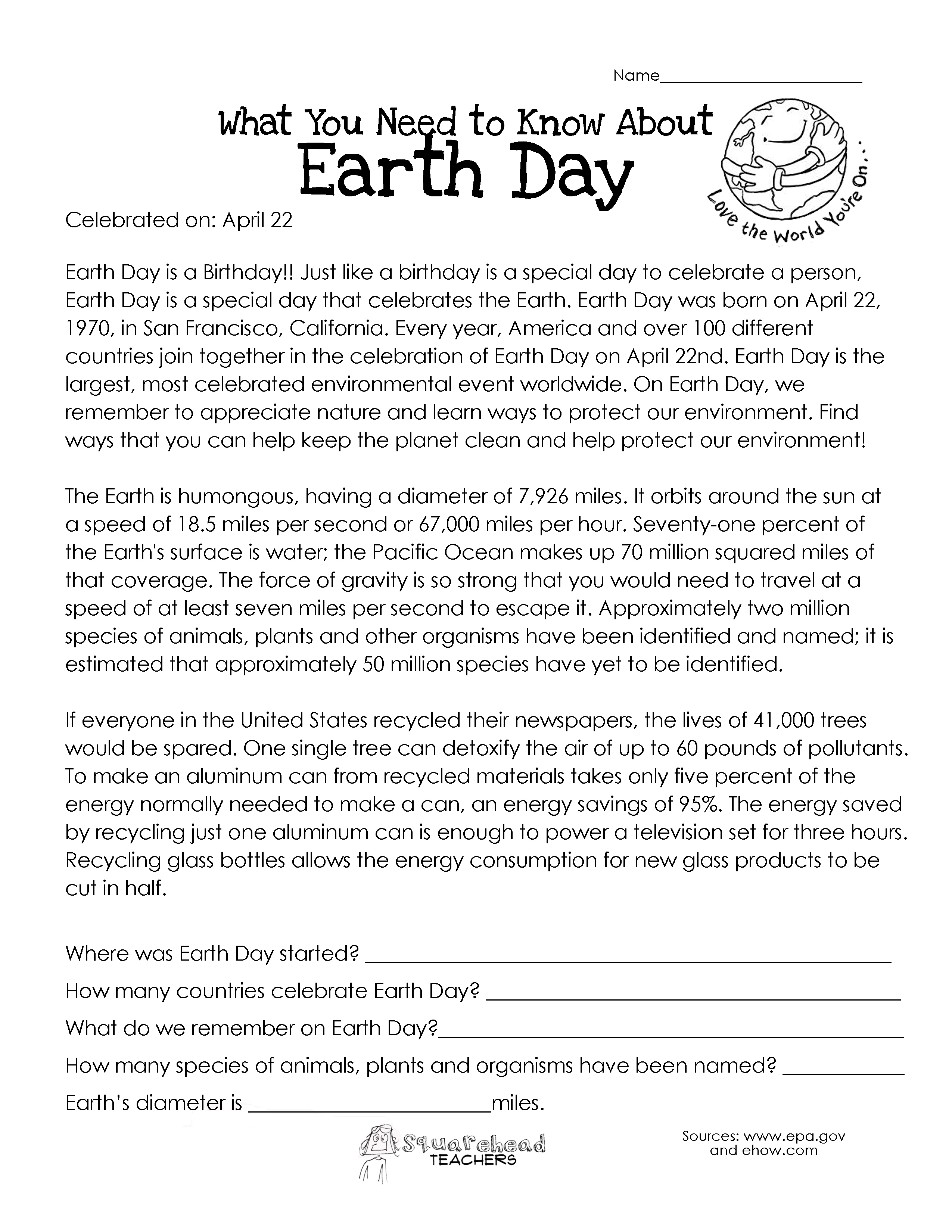 Structure Of The Earth For Kids Worksheets