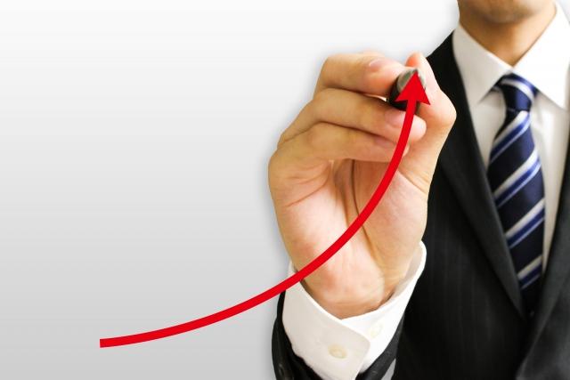 赤線で上昇志向のビジネスマン