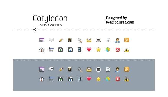 Vista previa de del paquete de mini iconos Cotyledon sobre fondo blanco y fondo gris.