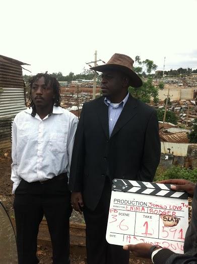 aiena Ojiambo and Kiki on set in Kibera