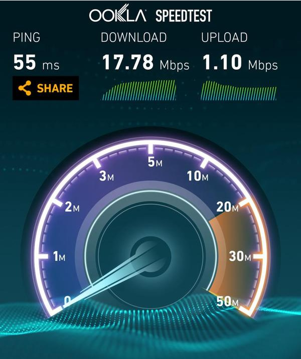 Test done on Safaricom 4G, In WestLands area