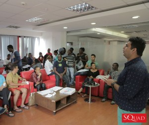 Squad Digital General Manager Manish Sardana addresses developers at the first Squad Labs Hackathon