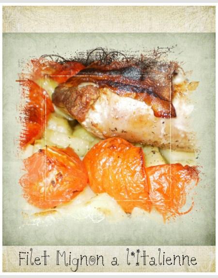 Recette filet mignon à l'Italienne avec des pommes de terre et tomates bio cuitent au four