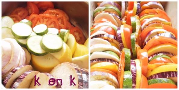 Préparation du tian de légumes