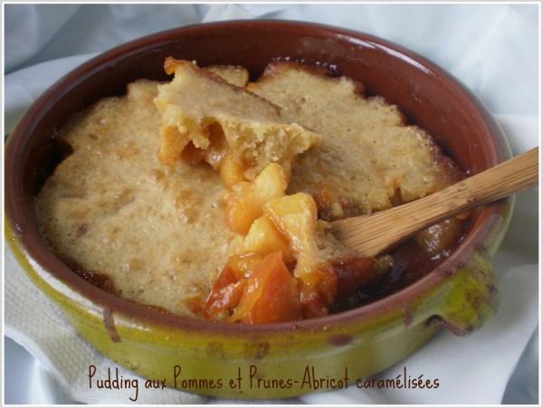 Recette pudding aux pommes et prunes-abricot caramélisées