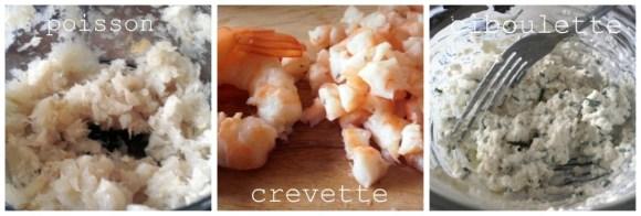 Farce de poisson et crevettes pour croquette
