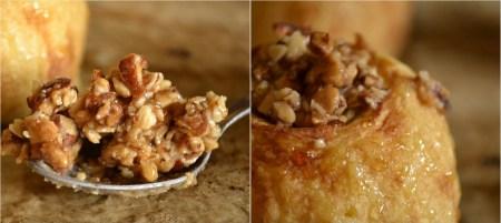 Recette de dessert-Pomme au four farcie au crumble de fruits secs caramélisés