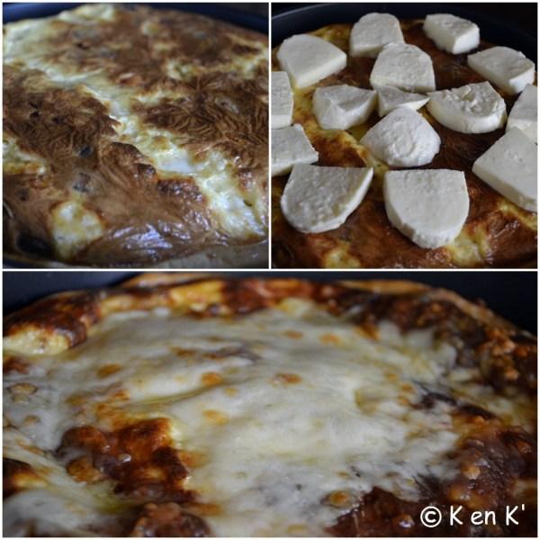 Cuisson de la  quiche jambon, champignon et mozzarella