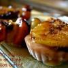 Recette Brochette de pêche plate et d'abricots caramélisés à la plancha un dessert servi avec un sorbet à la pêche