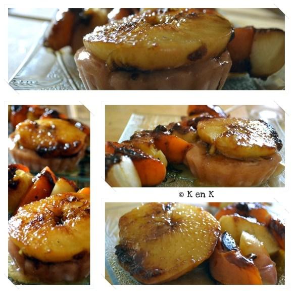 Recette Brochette pêche plate et d'abricots caramélisés à la plancha un dessert servi avec un sorbet à la pêche sur le blog de cuisine avec des produits frais et bio de ©Kaderick en Kuizinn